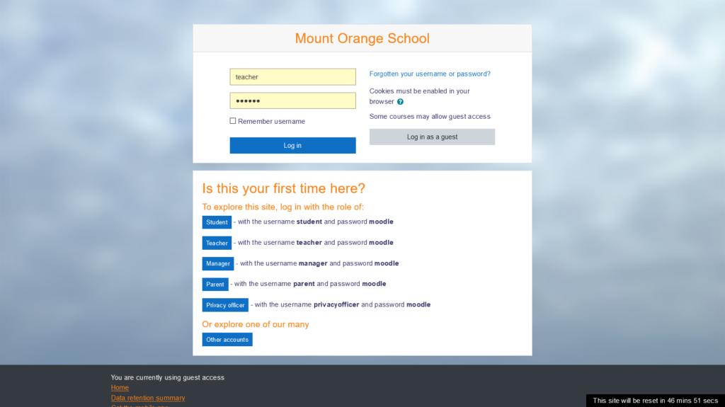 Moodle escolha de perfil, demo